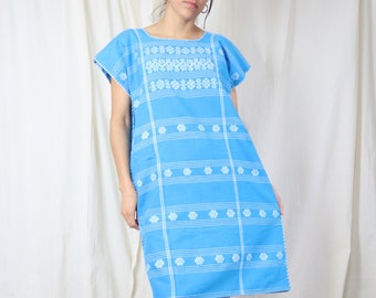Genuine Vintage Mexican Tunic / Hand Woven Mexican Dress / Blue Loose Midi Dress / Effortless Boho Ethnic Clothing / Home Office Clothing