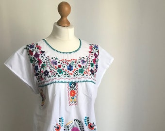 Traditional Hand Embroidered Mexican Dress | Boho Dress | Dresses for Women | Spring Outfit | White Dress | Embroidered Dress | Flower Dress