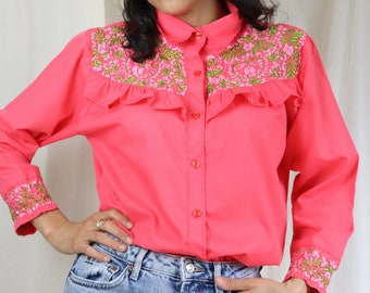 Hand Embroidered Floral Shirt, Long Sleeves Mexican Top , Unique Embroidered Button-up Shirt, Artisanal Rare Embroidered Blouse