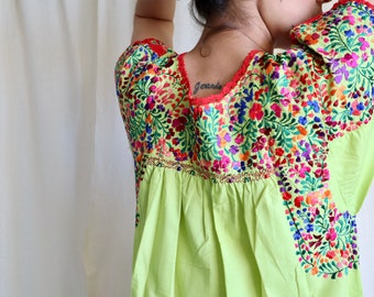 Embroidered maxi Dress, artisan made clothing, Mexican Gown, Vintage Long Dress, Long Boho Summer Dress
