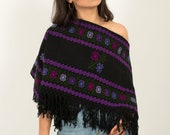 Mexican cape for women Knit sweater cape boho overcoat Hand Embroidered Cape Pullover cardigan poncho for woman