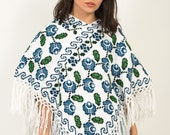 Floral Cape Hand Woven Shawl Hand Embroidered Poncho Sustainable clothing brand Floral Vintage Shawl Floral Poncho