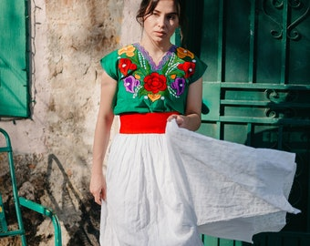 Authentic Mexican Top, Mexican Top, Floral Top, Cotton Blouse, Huipil, Frida Top, Boho Top, Hispanic Blouse