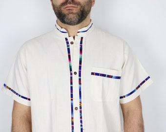 Classic Mexican Men's Guayabera / Unique Summer Spring Shirt / Beach Wedding Manta Shirt / Short Sleeves Button up Shirt / Gift For Him