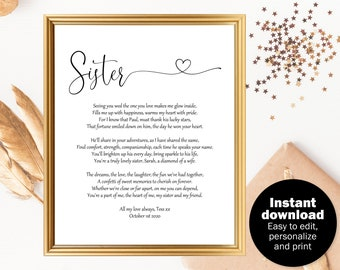 Sister wedding gift Bride gift from sister Sister wedding day poem Gift for bride from sister Sister wedding Big little sister poem  sc 1 st  Etsy & Bride gift from sister | Etsy
