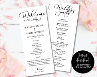 wedding program template printable wedding day ceremony order etsy