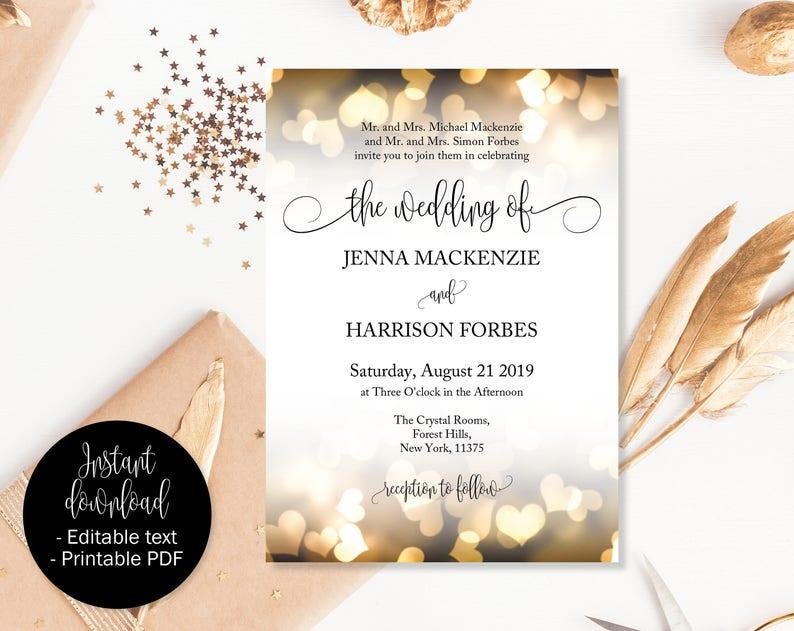 photo regarding Etsy Printable Invitations identified as Gold Marriage Invites, Gold Hearts Invitation Printable, Wedding ceremony Template, Editable Marriage Invitation, Wedding ceremony Printable, Invitation PDF