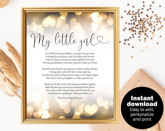 Bride Wedding Day Gift Poem Bride Gift Poem From Mom Etsy