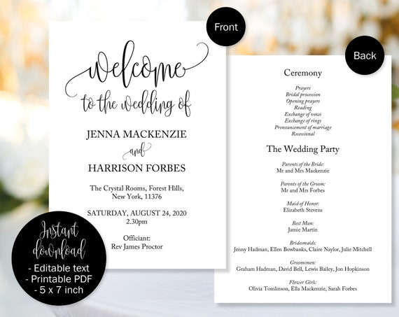 Wedding Day Program Template Church Or Civil Service Wedding Etsy