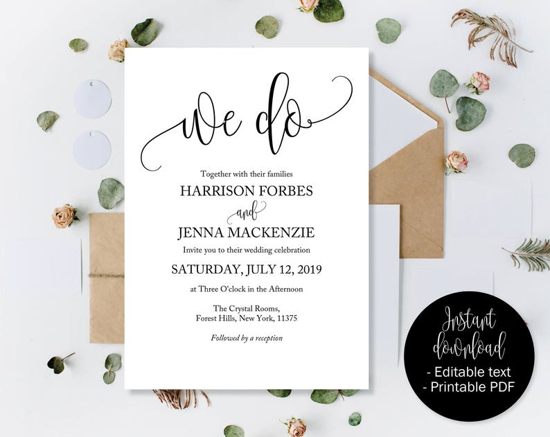 image regarding Etsy Wedding Invitations Printable known as Editable Wedding day Invites, Marriage ceremony Invitation Printable, Marriage ceremony Template Down load, Invites Marriage ceremony PDF, We Do Calligraphy INV-18