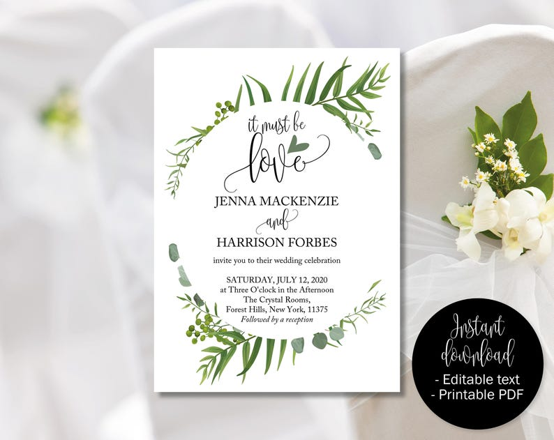 photo relating to Etsy Printable Invitations known as Inexperienced Wedding day Invitation, Environmentally friendly Marriage Printable, It Need to Be Get pleasure from, Botanical Wedding day Invite, Spring Summer months Invite, Rustic Botanical Invite