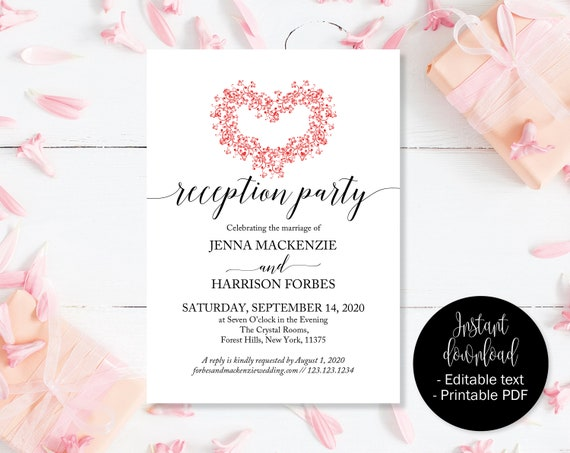 Red Heart Wedding Reception Party Invites Evening Etsy