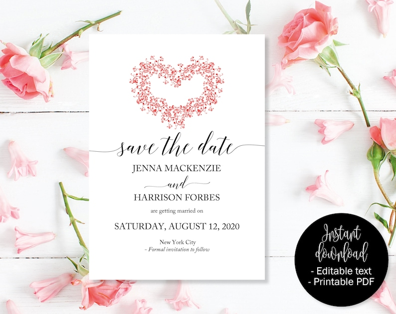 c848ad951efe1 Red Heart Wedding Save the Date, Red Heart Save the Date, Wedding Save the  Date Template, Save the Date Cards, Save Date Wedding Printable