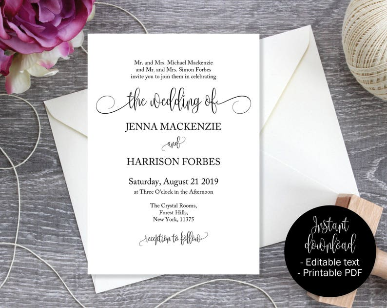 graphic regarding Etsy Wedding Invitations Printable identified as Wedding day Invites, Wedding day Invitation Printable, Marriage Template, Editable Wedding ceremony Invitation, Marriage ceremony Printable, Invitation PDF INV-17