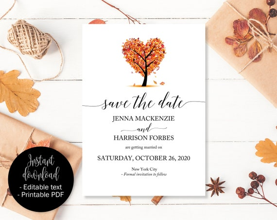 fall save the date template fall wedding save the date fall etsy