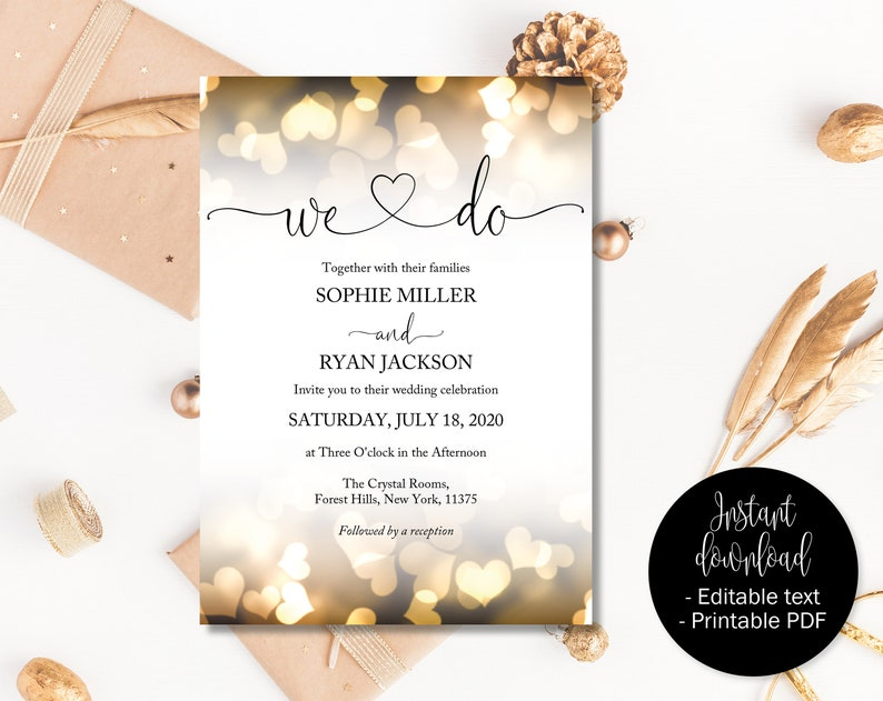 photograph relating to Etsy Printable Invitations identified as Gold Marriage Invitation Printable, Marriage ceremony Template Down load, Editable Marriage Invites, PDF Marriage ceremony Invites, We Do Gold Hearts