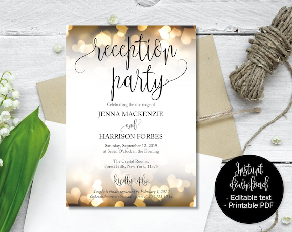 Wedding Reception Party Invitations Wedding Invitations Etsy