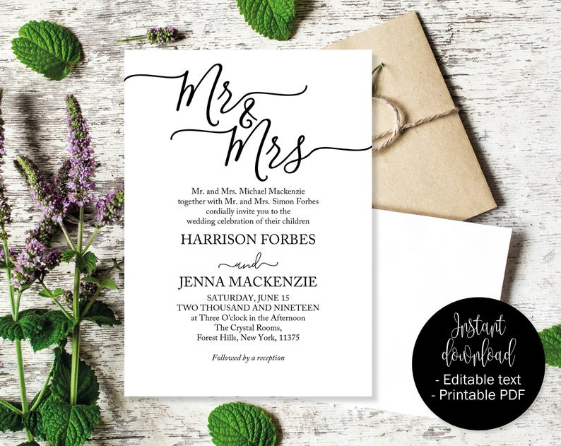 image relating to Etsy Printable Invitations identified as Wedding ceremony Invites, Marriage Invitation Printable, Wedding ceremony Template, Editable Marriage ceremony Invite, Invites Wedding ceremony, Mr and Mrs INV-13