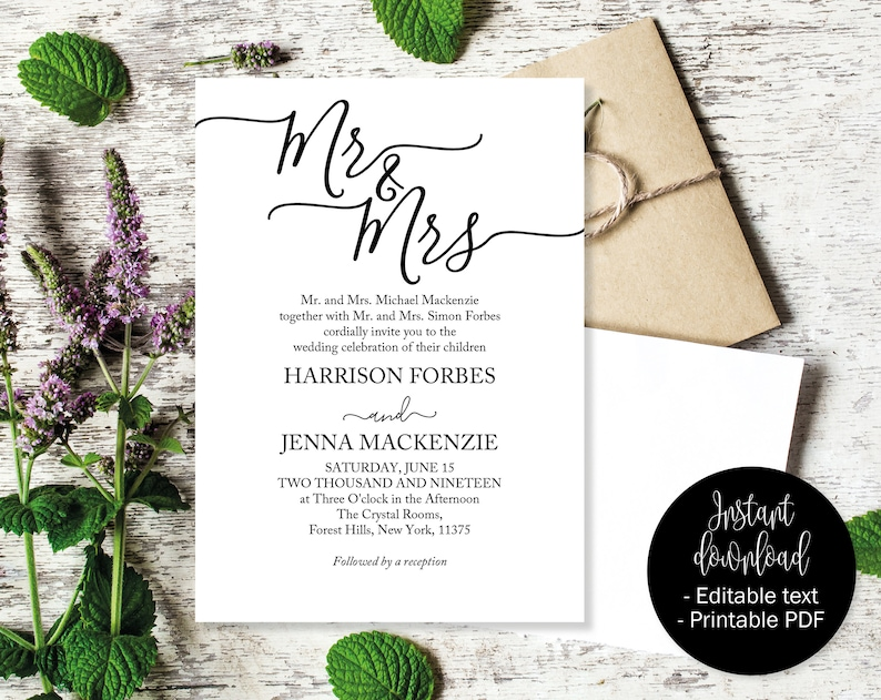 photo relating to Etsy Wedding Invitations Printable named Marriage Invites, Marriage ceremony Invitation Printable, Wedding ceremony Template, Editable Marriage ceremony Invite, Invites Wedding ceremony, Mr and Mrs INV-13