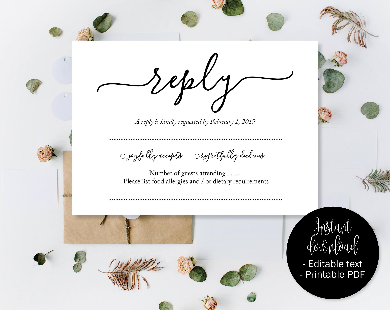 Wedding RSVP Cards, Wedding Reply Attendance Acceptance Cards, RSVP  Template Printable Editable Wedding Postcard Download Simple RSVP Insert Regarding Acceptance Card Template