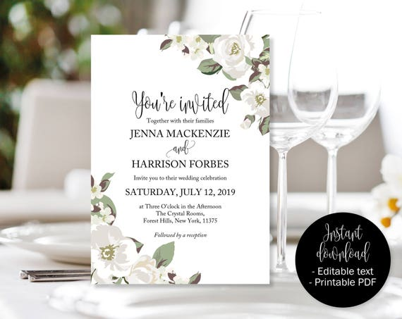 White Green Floral Wedding Invitation, Editable Wedding Invite, Wedding  Invite Printable, Wedding Template Download, Invitations Wedding PDF