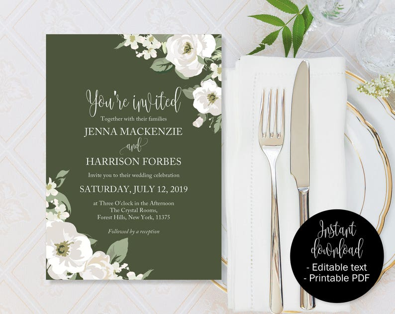 graphic about Etsy Wedding Invitations Printable identify Inexperienced Floral Wedding ceremony Invitation, Inexperienced Marriage ceremony Invite Printable, Inexperienced Wedding ceremony Template Obtain, Eco-friendly Invites, Inexperienced Editable Marriage