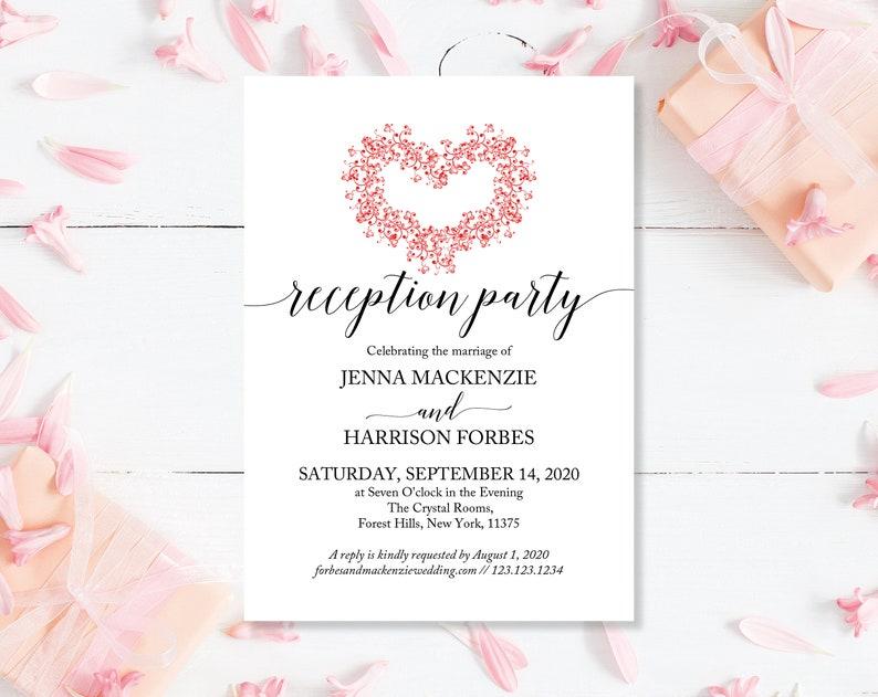 Printed Wedding Invitation Wedding Invites Green Cheap Wedding Invitation Floral Reception Invite Invites For Reception Wedding Invites