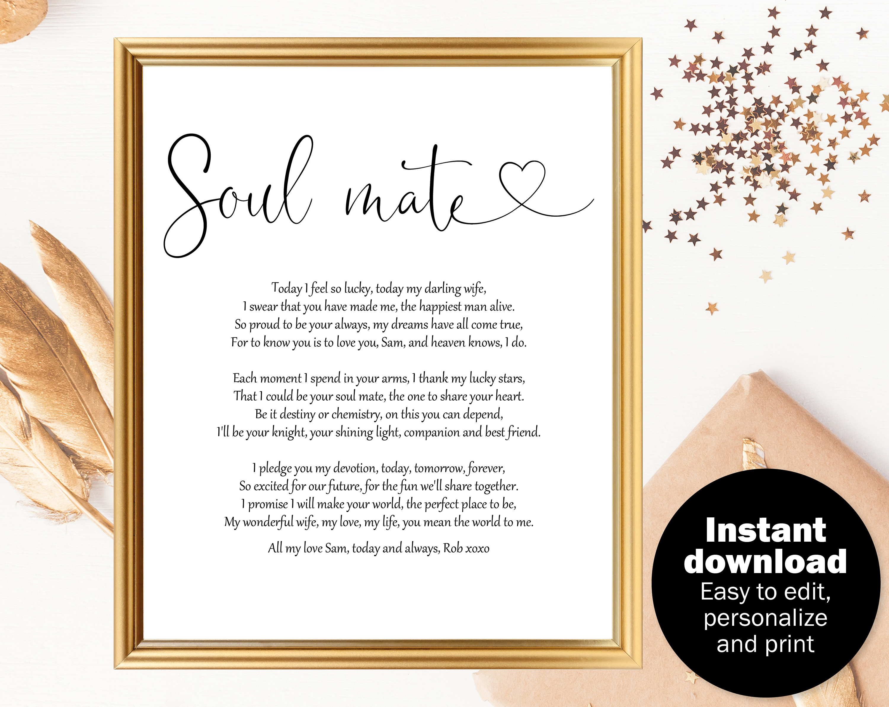 Wedding gift poem for wife Wedding day gift for bride