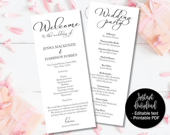 wedding day program template booklet wedding ceremony order