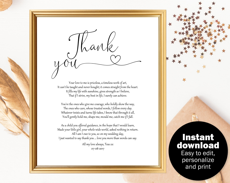 Poem For Wedding Gifts: Parents Wedding Gift Poem Parents Gift Wedding Mother Of