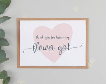 Thank You For Being My Flower Girl Card - Cute Flower Girl Card - Flower Girl Thank You Card - Flower Girl Gift