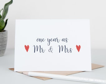 First Wedding Anniversary Card - One Year As Mr & Mrs - Paper Wedding Anniversary - One Year Down Forever To Go - Wedding Anniversary Card