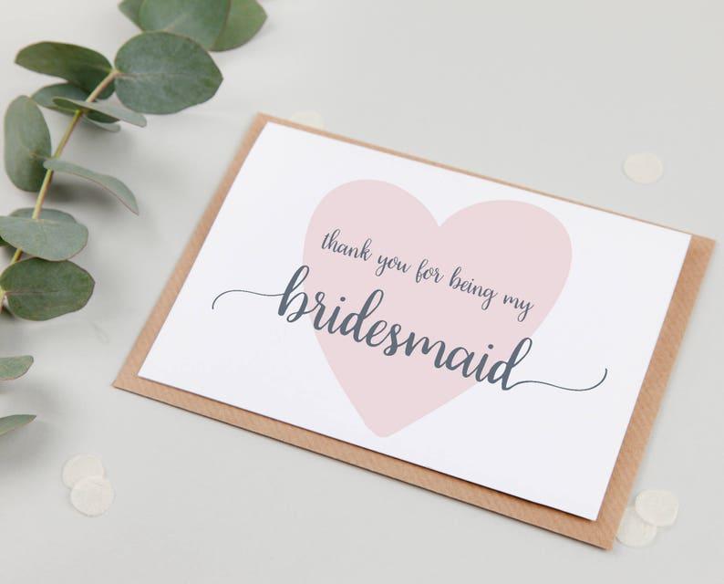 Bridesmaid Thank You Card Bridesmaid Card Thank You For Being My Bridesmaid Card Cute Bridesmaid Card
