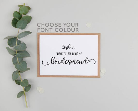 Personalised Thank You For Being My Bridesmaid Bridesmaid Etsy