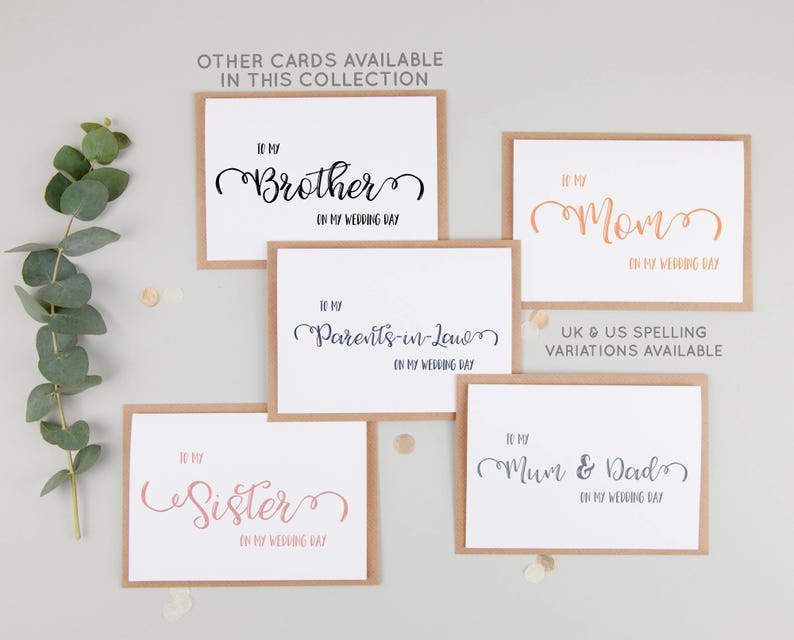 To My Mum On My Wedding Day - To My Mom On My Wedding Day - To My Mother On  My Wedding Day - Mum Wedding Day Card - Parents Wedding Card