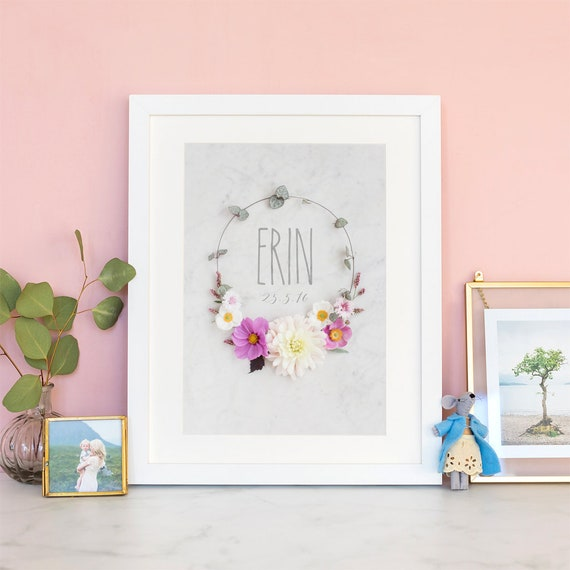 Personalised Floral Wreath Gift Print with Frames for Girls on All Occassions