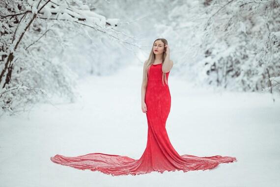 Rosso extra lungo abito di maternità gravidanza abiti  852d183f2fc