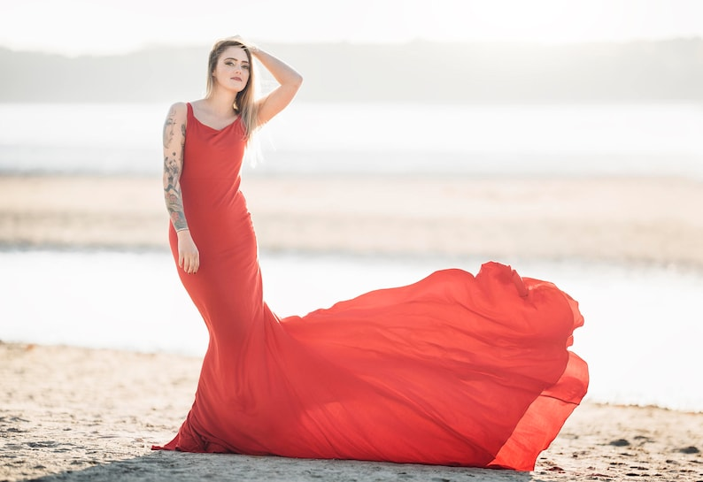 12ee56748a Red extra long Maternity gown Pregnancy dresses Dress for