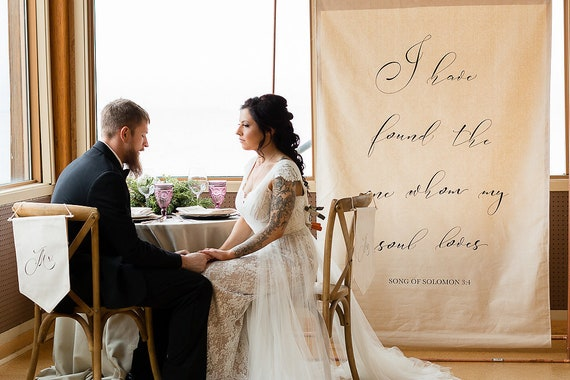 Fabric Banner Wedding Sign Customizable Backdrop Quote Etsy