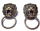 Bronze Roaring Lion Door Knocker Stud Post Earrings Ring in Mouth King of the Jungle 4B