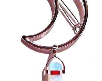 Silver Crescent Moon Hair Clip with Opalite Crystal Pendant 4E