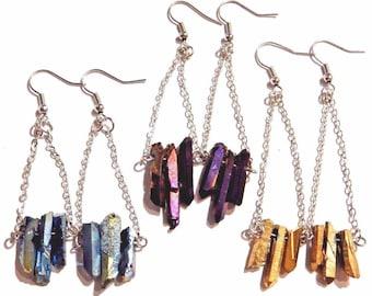 Natural HexPoint Titanium-Rainbow Quartz Crystal Earrings 7S