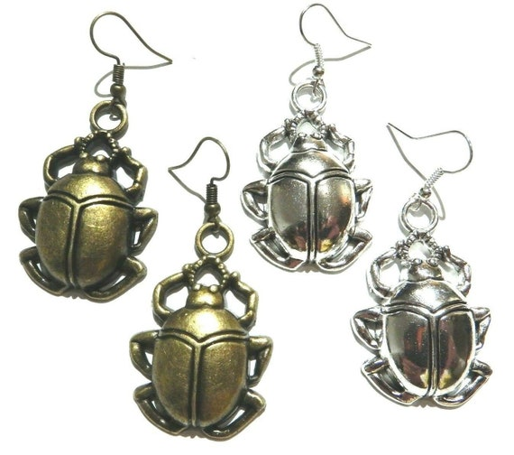 Bronze Scarab Charm Earrings Beetle Earrings Insect Gift Insect Charm Scarab Jewelry Personalized Earrings