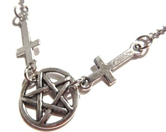 Inverted silver pentacle & inverted crosses dainty chain necklace pentagram occult satanic gothic punk 10I