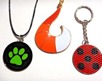 Miraculous Ladybug Pendant Necklace or Key Ring adrien marinette Alya Rena Rouge Chat Noir cosplay prop logo