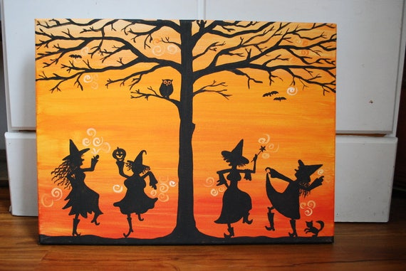 Halloween Witch Party Wall Art Printable Art Canvas Art | Etsy