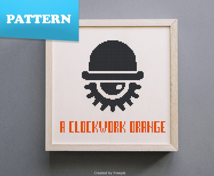 A Clockwork Orange Movie Minimal Cross Stitch Pattern Etsy