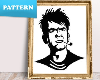 Charlie Sheen cross stitch pattern / Actors / Movies / TV Shows / People / Famous / PDF pattern / Two and a Half Men