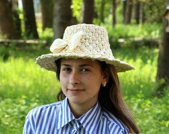 Straw Hat, Summer Hat, Beach Hat, Spring Hat, Hat, Handmade Hat, Sun Hats, Hat For Decor, Decoration Wall, Decoration, Wide Brimmed Hat, Whi