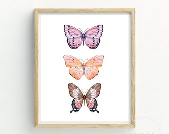 Pink Butterfly Print | Butterfly Nursery Print | Butterfly Painting | Butterfly Wall Art | Bestselling Print | Butterfly Watercolor | Art